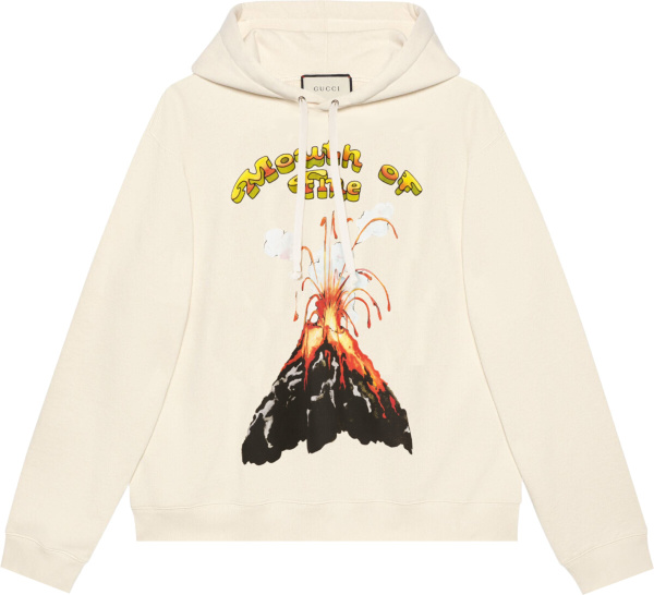 Gucci White Mount Of Fire Volcano Hoodie