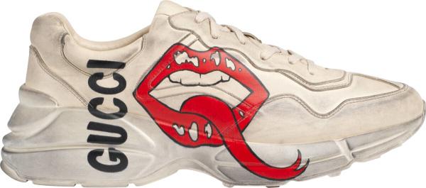 Gucci White Mouth Print Rhyton Sneakers