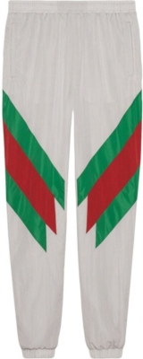 Gucci White Nylon Track Pants With Green And White Stripes