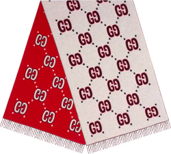 Red & White Logo Jacquard Fringed Scarf
