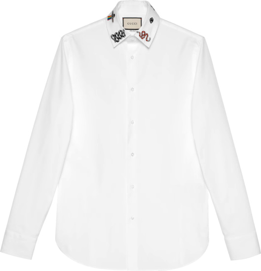 Gucci White Shirt With Symbols Embroidered Collar