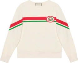 Gucci White Sweatshirt With Red And Green Diagonal Print