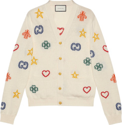 Gucci White Symbols Intarisa Jacquard Sweater