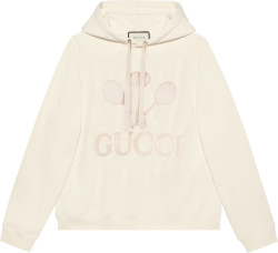 Gucci White Tennis Logo Embroidered Hoodie