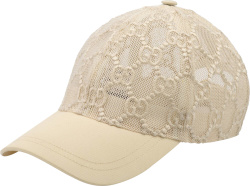 'GG' Embroidered White Mesh Hat