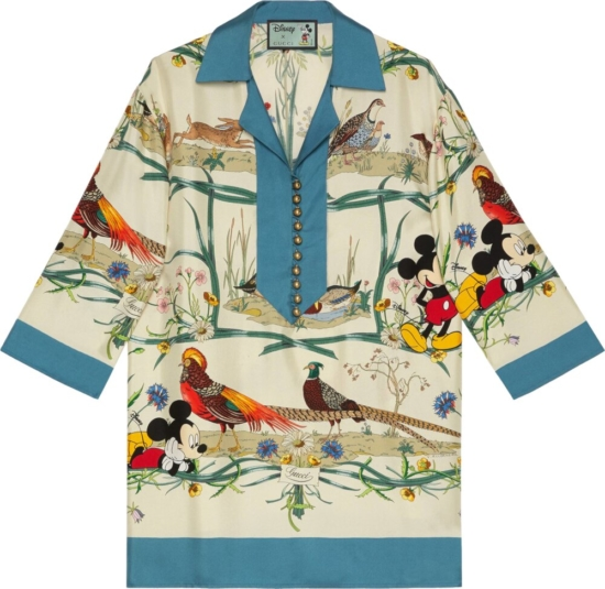 Gucci X Disney Floral And Mickey Mouse Print Shirt