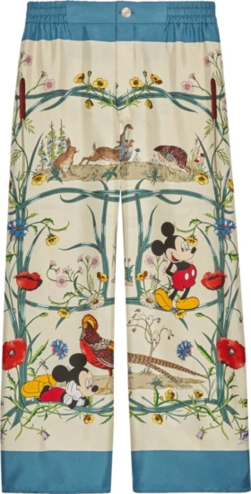 Gucci X Disney Floral Print Silk Pants