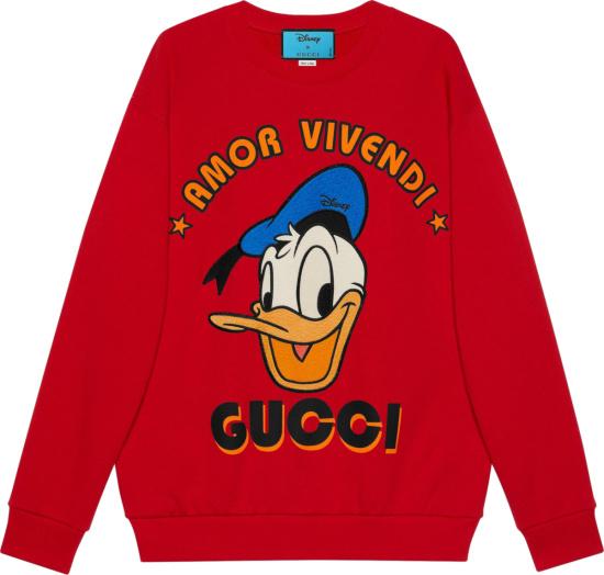 Gucci X Disney Red Donald Duck Amor Vivendi Logo Sweatshirt