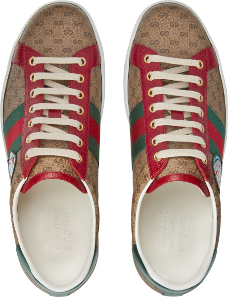 Gucci X Doraemon Beige And Brown Gg Low Top Sneakers