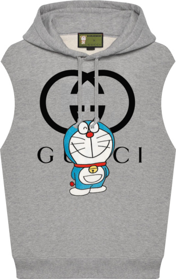 Gucci X Doraemon Grey Sleeveless Hoodie
