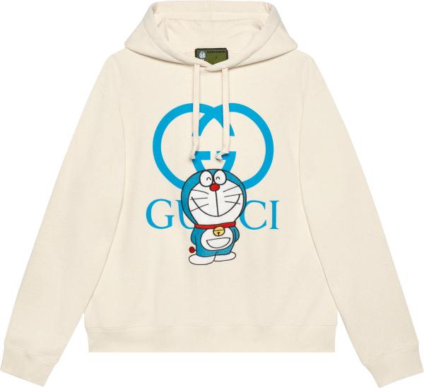Gucci X Doraemon White Logo Print Hoodie 646953xjde19150