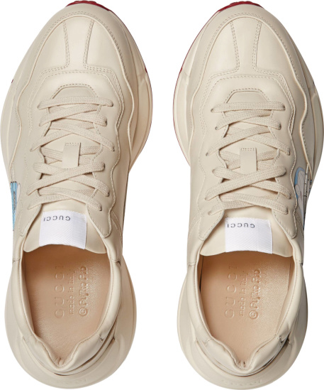Gucci X Doraemon White Low Top Leather Rhyton Sneakers