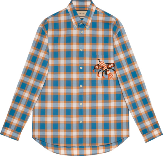 Gucci X Freya Hartas Light Blue Orange And White Check Animal Patch Shirt