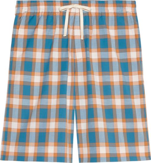 Gucci X Freya Hartas Light Blue Orange And White Check Shorts