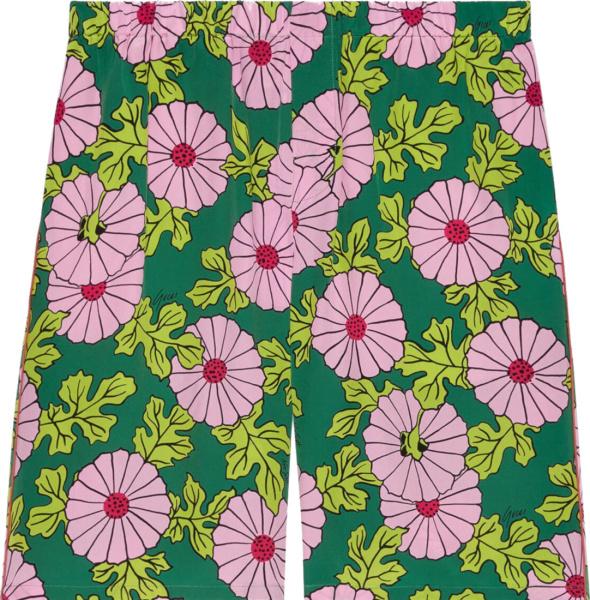 Gucci X Ken Scott Green And Pink Floral Shorts 639389zagak5337