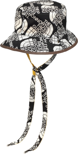 Gucci X The North Face Black And White Drawstring Bucket Hat