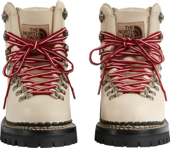 Gucci X The North Face Ivory Leather Logo Boots