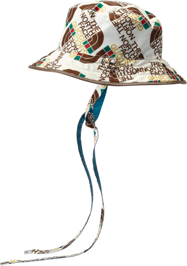 Gucci X The North Face White Allover Logo Drawstring Bucket Hat