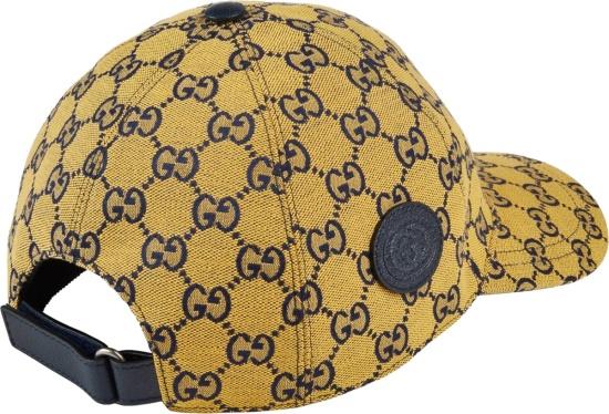 Gucci Yellow And Navy Gg Baseball Hat