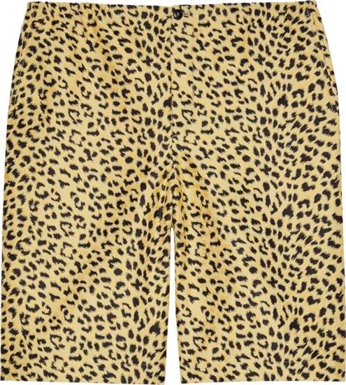 Gucci Yellow Black Leopard Shorts 630717 Zaeal 2068