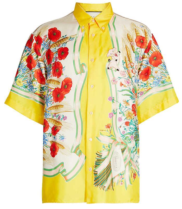 Gucci Yellow Border Floral Shirt