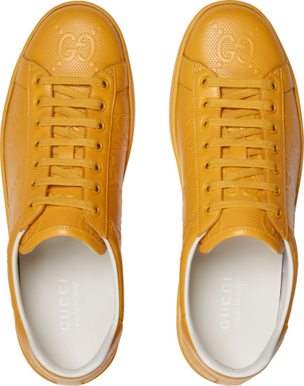 Gucci Yellow Leather Low Top Ace Sneakers