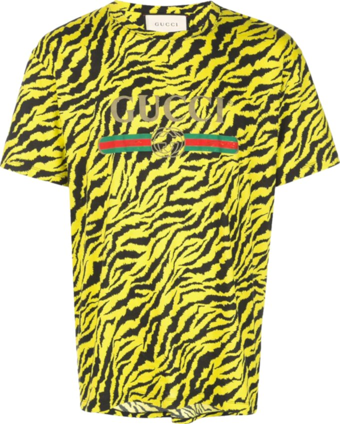 Gucci Yellow Tiger Print T Shirt