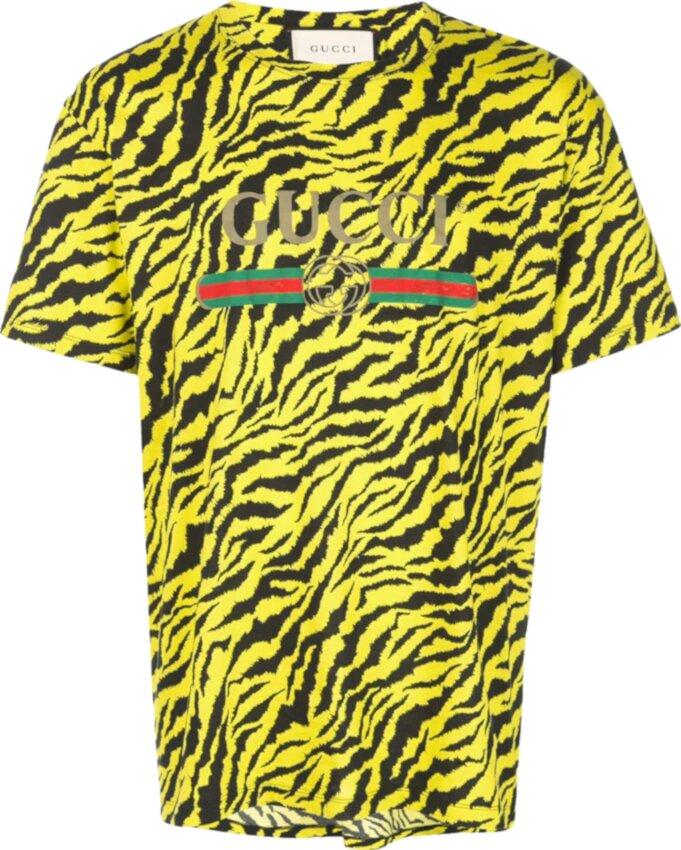 Gucci Yellow Tiger Print T Shirt