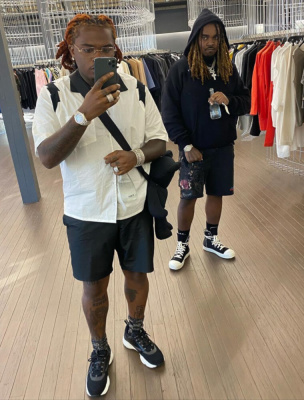Gunna Shopping In Bevelry Hiills In A Rhude Shirt Gucci Socks And Dior B22s