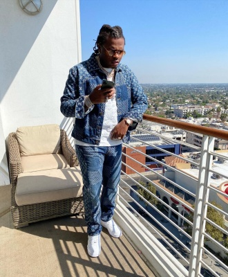 Gunna Wearing A Louis Vuitton X Nigo Blue Denim Jacket And Jeans With A Louis Vuitton Tee And Nike X Cactus Plant Flea Market Af1s