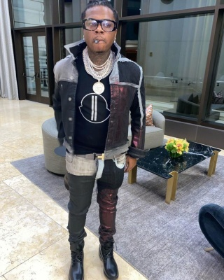 Gunna Wearing Rick Owens Drkshdw Jacket And Jeans With A Moncler X Rick Owens Tee Gucci Glasses And Black Boots