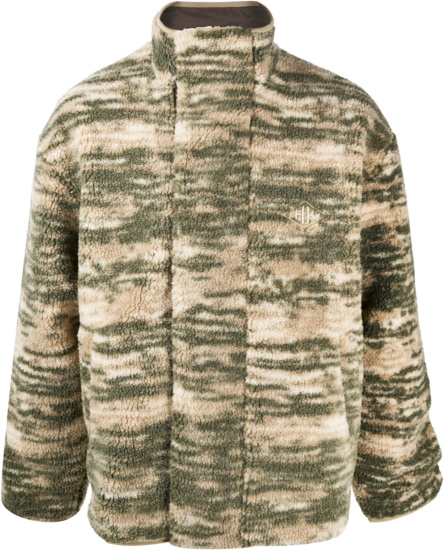 Han Kjobenhavn Beige Green Camo Fleece Jacket