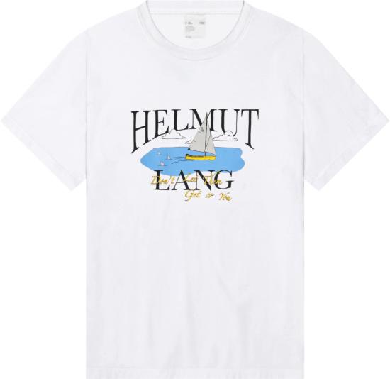 Helmut Land White Ocean Sailboat T Shirt