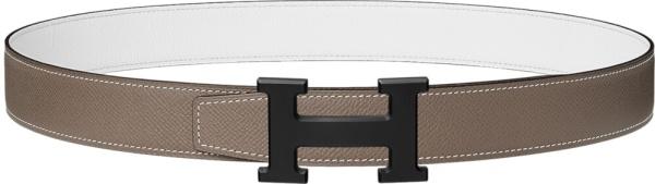Hermes 5382 White Leather Belt