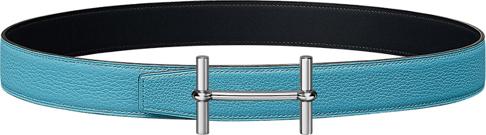 Hermes H D'ancre Blue Leather Belt