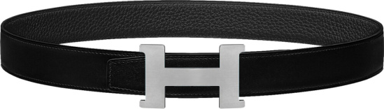 Hermes Black And Silver Tone Constance Belt