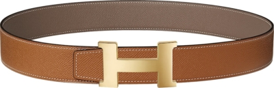 Hermes Gold Tone H Buckle Brown Leather Belt