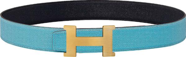 Hermes Light Blue And Permabrass Constance Belt