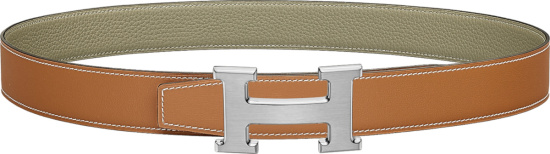 Hermes Light Brown And Silver Town H Buckle Belt