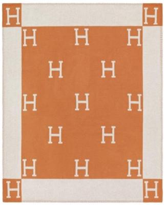 Hermes Orange And White Avalon Throw Blanket