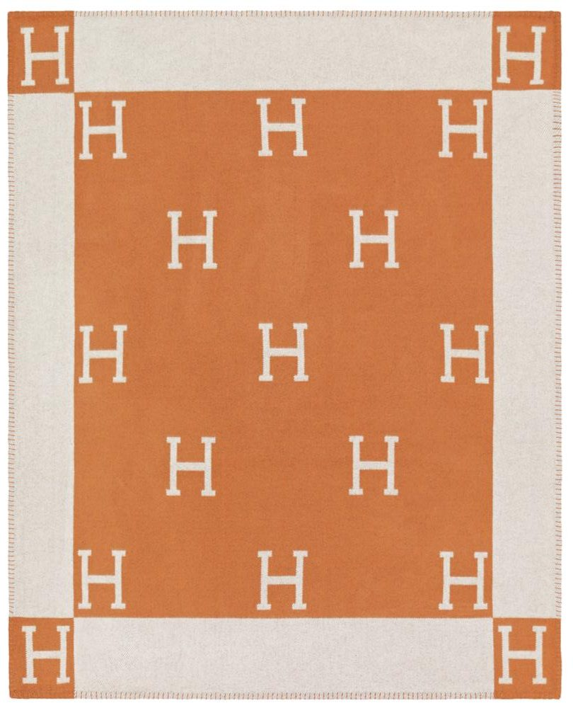 Hermes Orange And White Avalon Throw Blanket