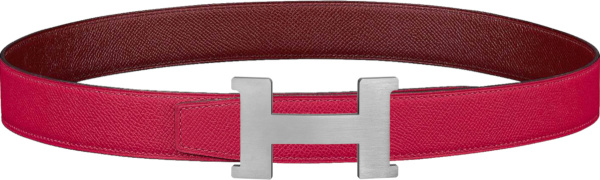 Hermes Pink And Silver Tone H Logo Buckle Belt