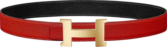 Hermes Red Leather And Permabrass Constance Belt