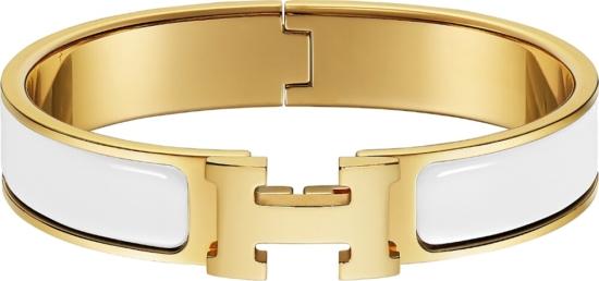 Hermes White Clic H Bracelet
