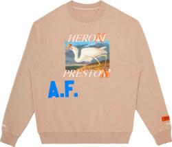 Heron Preston Beige Af Bird Print Sweatshirt