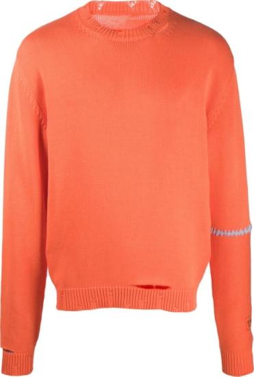 Heron Preston Distressed Orange Sweater