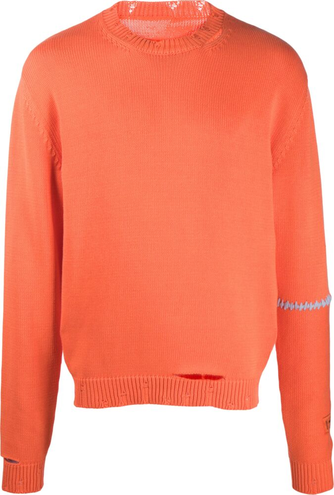 Heron Preston Distressed Orange Sweater