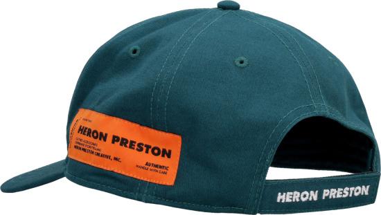 Heron Preston Green Adjustable Orange Patch Baseball Cap