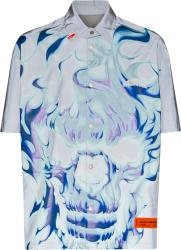 Heron Preston Light Blue Grey Flaming Skull Print Shirt