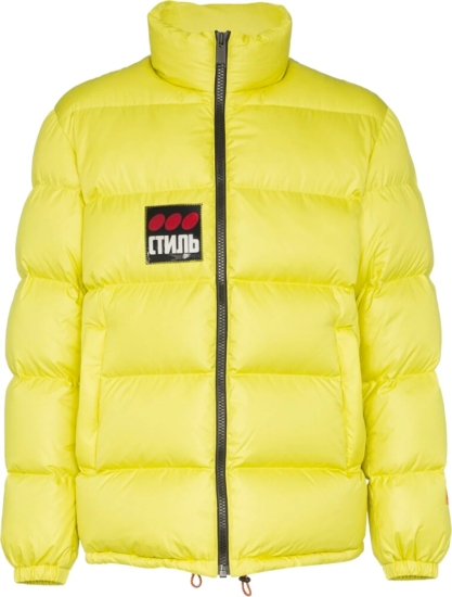 Heron Preston Logo Patch Yellow Puffer Jacket
